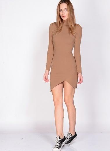 Fashion Uzun Kollu Dar Mini Elbise Pudra